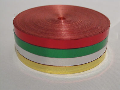 25m Metallic Curling Ribbon - 4 rolls of Red, Green, Silver, Gold Xmas Wrapping