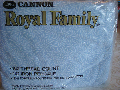Cannon Royal Family Pretty Blue White Twin Fitted Sheet NIP 2 Available PolyCott