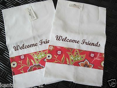 Longaberger Pretty In Pink Fabric Welcome Friends Guest Tip Hand Towels Set of 2