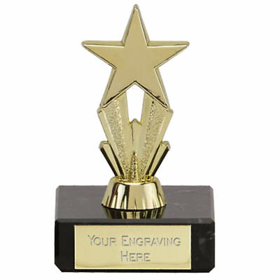 Budget Star Trophy mini micro, gold, silver, purple, marble base FREE ENGRAVING