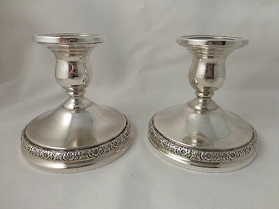 Prelude-International Sterling Pair of Candlesticks-3 1/2""