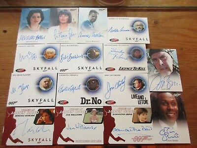 James Bond Archives 2014 Edition - 15 Card Common & Limited Autograph SET Auto's
