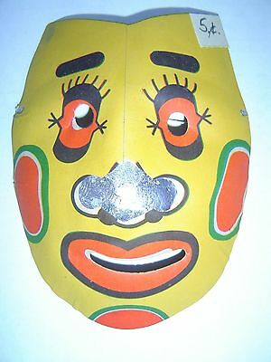 Vintage CLOWN Molded Paper Halloween Mask #29 - OLD STORE STOCK - 5 Cents Unused