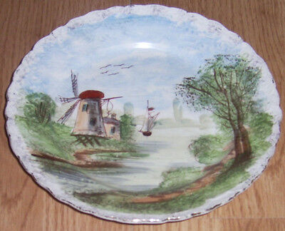 ANTIQUE MAJOLICA HANDPAINTED PLATE ST AMAND MARKED