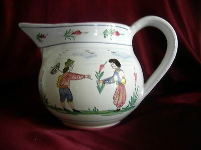 DERUTA ITALY Majolica Jug Pitcher Quimper Style Peasants & Flowers