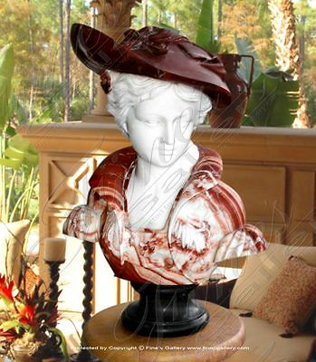 Elegant Lady Red Marble Bust - Marble Statue