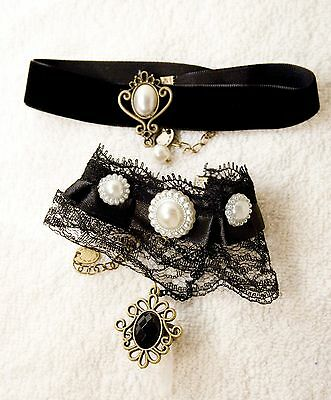 victorian style Goth jewelry set necklace bracelet ring Black bead pearl