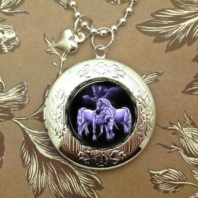 Unicorns in Love, Moonlight Poison, Photo Locket Bubble Charm, Necklace Cameo