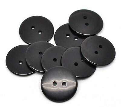 Hot Sell 50 Black 2 Holes Resin Sewing Buttons 23mm