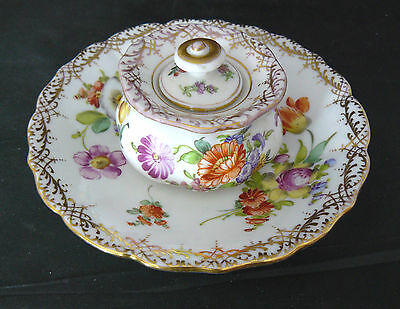 Antique DRESDEN Porcelain - COVERED INKWELL & SEPARATE SAUCER - Very Good