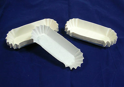 100 Hot Dog Trays Medium Size Fluted Paper, Eclaire, Corn Dog, Snack, Quick Ship