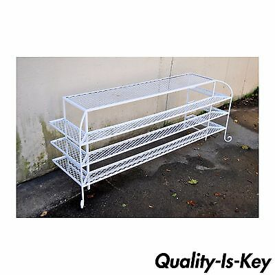 Vintage Hollywood Regency White Wrought Iron Curule Plant Stand Table Console