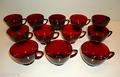 Vintage 12pc Anchor Hocking RUBY RED Glassware FOOTED PUNCH CUPS