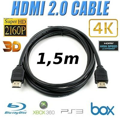 CABLE HDMI 1,5M 2.0 3D HIGH SPEED 4K UltraHD 2060p LED XBOX PS3