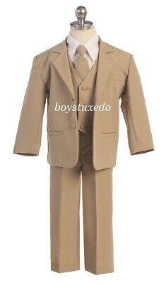Boy's 5 Pc Beige Khaki Tan Taupe Formal Tuxedo Suit Infant Toddler Teen All Sizs