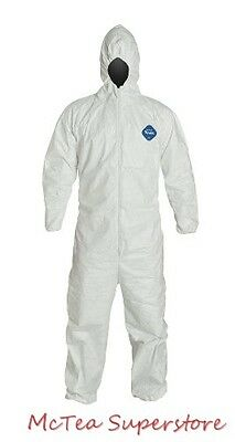Dupont TY127S Tyvek Protective Coverall w/ Hood, Elastic Wrist and Ankle, Sz XL