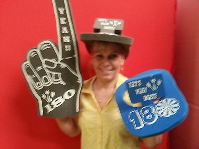 Darts Yeah 180 Giant Foam Hand Pointy Finger and Darts 180 Foam Visor Hat