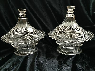 Early American Pattern Glass Beaded Star Covered Compote Late 1800's 2 available