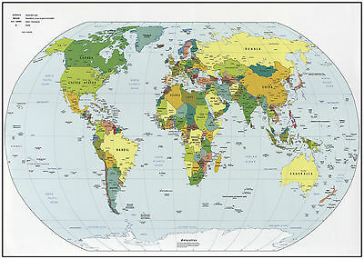 World Map Giant Poster - A0 A1 A2 A3 A4 Sizes Available