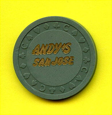 OLD VINTAGE 1950's CALIF CARD ROOM CHIP - 50 CENTS - ANDY'S CLUB - SAN JOSE CA