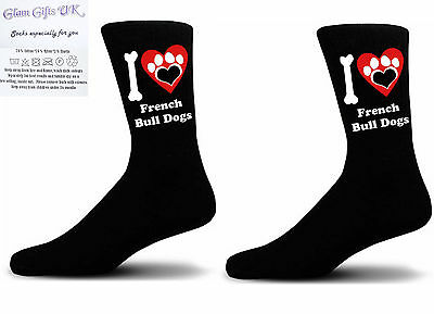 Black I love French Bull Dogs With a Paw Print Design Socks