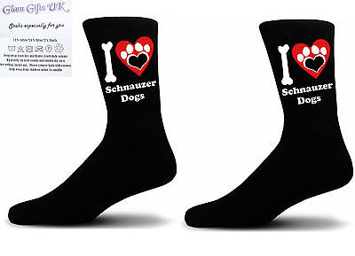 Black I love Schnauzer Dogs With a Paw Print Design Socks