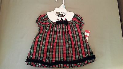 NWT Holiday Christmas Velvet Cotton Mix 2Pc Infant Dress Set Outfit