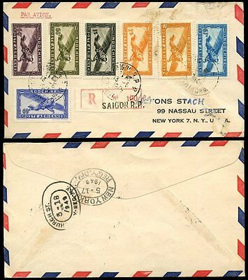 FRENCH INDOCHINA 1949 REGISTERED AIRMAIL VICHY COMBINATION 6 values