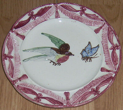 RARE ANTIQUE MAJOLICA PLATE, L HERMINE FRENCH 19c MARKED