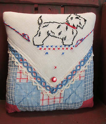 Antique QUILT Accent Pillow with Vintage EMBROIDERY Linen - Sweet SCOTTIE Dog