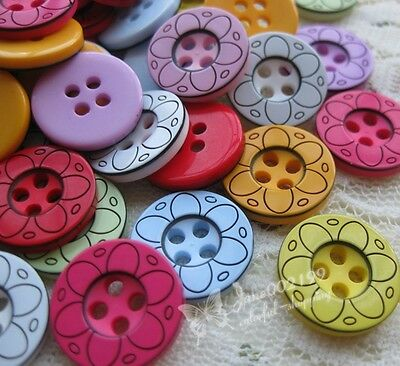 15mm 100x New! Mix Plastic Buttons Sewing Notions Accessories DIY Crafts NK045
