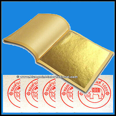 50 GOLD LEAVES LEAF SHEETS - 24 Carat - 99.9% Purity - EDIBLE - FOOD GRADE