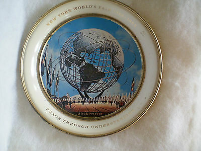 "New York WORLDS FAIR 1964 - 1965 Collectible Metal Tray UNISPHERE White/8.25""-G"