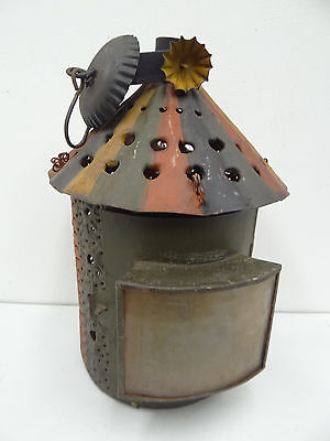 Antique Hand Painted Metal Tin Decorative Hanging Candle Barn Lantern Fixture