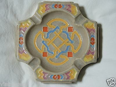Claycraft Tile Ashtray Vintage California Arts & Crafts Mission Celtic Geometric