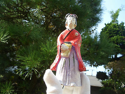 Japanese antique clay doll a woman beautiful kimono wore bring something #9232