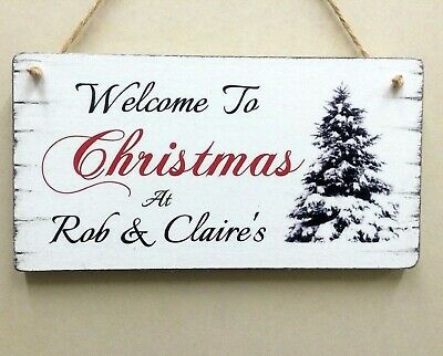 Christmas Signs Personalised Shabby Vintage Chic Christmas Tree Wooden Gift