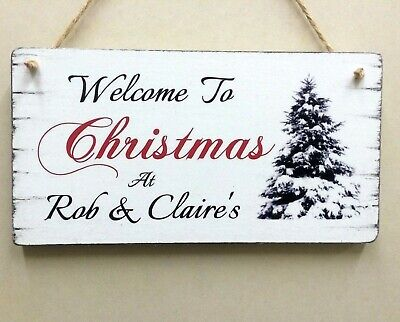 Personalised Christmas Sign Shabby Vintage Chic Christmas Tree Wooden Gift