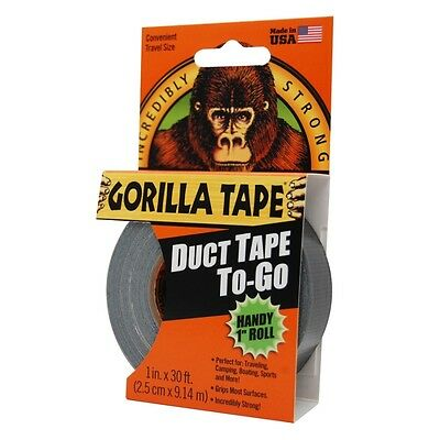 Gorilla Tape Duct Tape To-Go Handy Roll 25mm x 9m Pocket Size Strong Duty