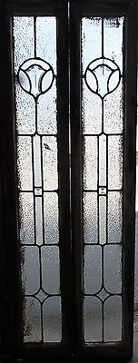 ~ Pair Antique Beveled Glass Sidelites Windows 66.5 Tall ~ Architectural Salvage