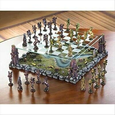 Stunning Fairy Chess Set With Clear Etched Glass Board