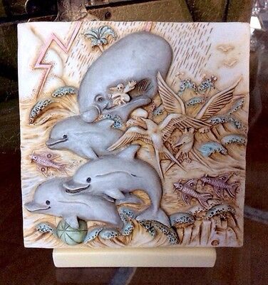 Rare Harmony Kingdom Noah's Park Dolphin Downs 3D Tile w/Picturesque Stand XLNT!