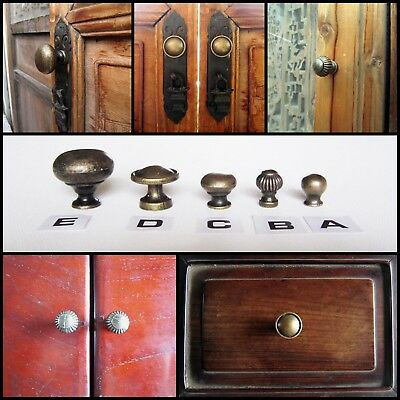 6 Antique Brass Jewelry Box Drawer Cabinet Cupboard Door Window Handle Pull Knob