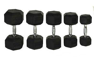 Fitness Direct Rubber HEX Hexagonal Dumbells Weight Training set Gym Dumbbell