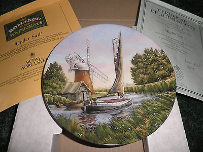 Royal Worcester Collectors Plate - 'under Sail' - Barge - Canal