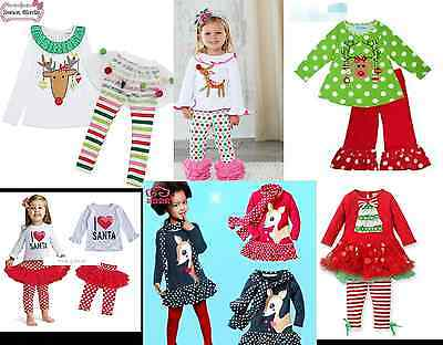 Baby Toddler Girl's Christmas Holiday Reindeer Tutu Tree Outfits Size Newborn-6Y