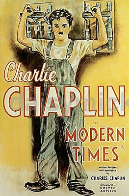 Charlie Chaplin 'Modern Times' 1936 Classic Repro Silent Movie Poster