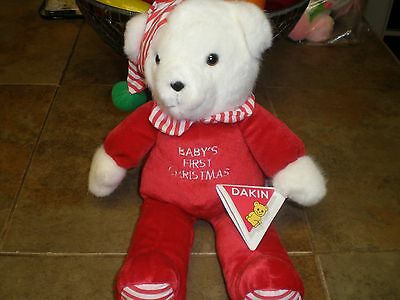 Vintage Dakin Stuffed Baby's First Christmas Bear New with tags NOS  RARE