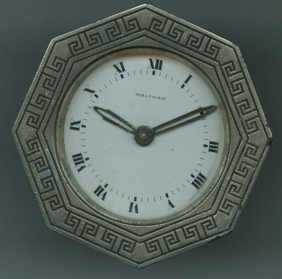 Antique Waltham Art Deco 8 Day Car Clock