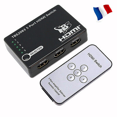 5 Port 1080p 3D 1.4V HDMI Selector Switch Splitter Box For Games Bluray DVD HDTV